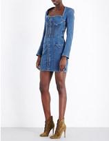 Balmain Lace-up denim dress