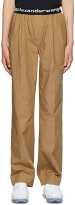 Alexander Wang Tan Pull-On Pleated Lounge Pants