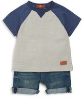 7 For All Mankind Baby Boy's Two-Piece Baseball Tee & Denim Shorts Set