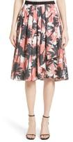 Jason Wu Women's Palm Print Front Drape A-Line Cotton Skirt