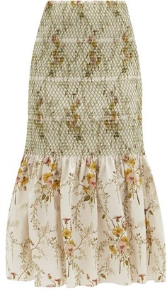 Brock Collection Rafano Floral-print Smocked Cotton-blend Skirt - Cream Multi