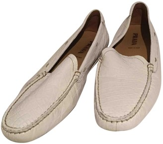 Prada White Crocodile Flats