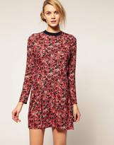 Cacharel Pleat Detail Dress with Long Sleeves in Floral Print
