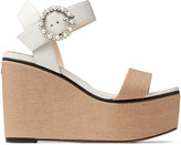 Jimmy Choo ABIGAIL 100 Natural and Latte Raffia and Nappa Leather Wedge Sandals with Crystal and Pearl Buckle