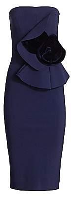 Chiara Boni Women's Hebe Velvet-Appliqué Strapless Dress