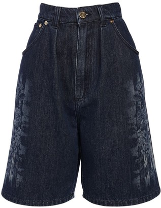 Alberta Ferretti Cotton Denim Bermuda Shorts