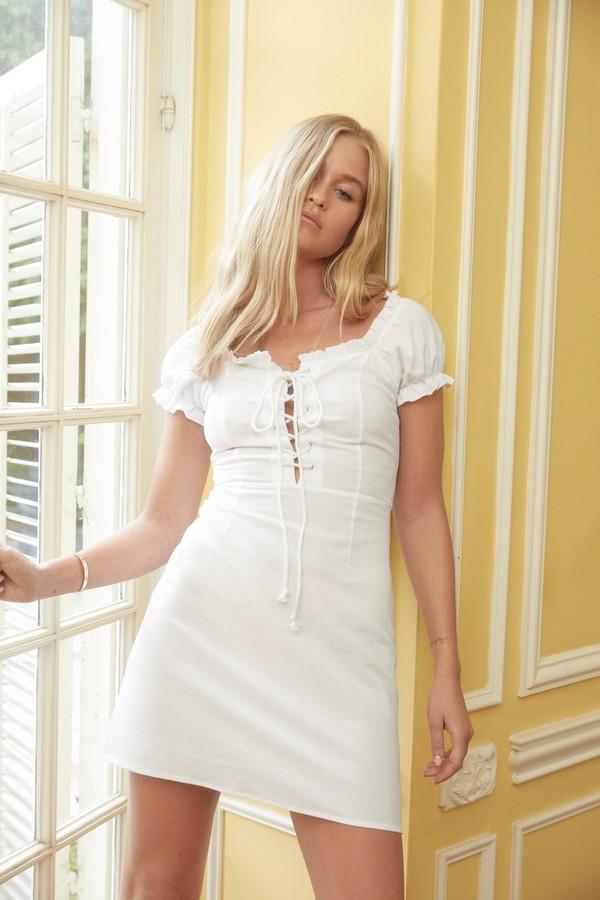 Nasty Gal Womens Puff Sleeve Lace-Up Mini Dress - White
