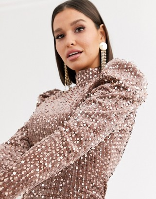 Saint Genies sequin velvet high neck puff sleeve party dress in champagne-Cream
