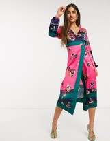 Liquorish midi wrap dress with ruched sleeve detail in bright mixed floral