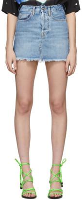 Marcelo Burlon County of Milan Blue Denim Miniskirt