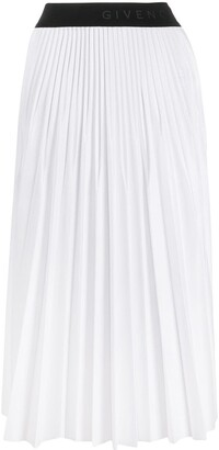 Givenchy Logo Waistband Pleated Skirt