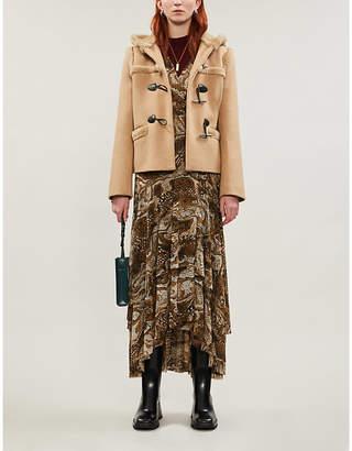 Sandro Shearling-trim sheepskin duff coat