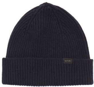 Paul Smith Logo-label Ribbed Cashmere-blend Beanie - Navy