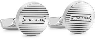 HUGO BOSS Jane Logo-Detailed Silver-Tone Cufflinks