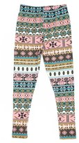 Expert Design Girl's Snowflake and Small Navajo Pattern Print Leggings - S/M
