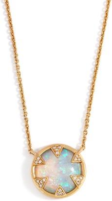Melinda Maria Single Drop Simulated Fire Opal Necklace- Tessa