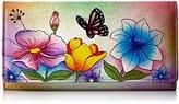 Anuschka Anna By Handpainted Leather Checkbook Wallet/ Clutch,Floral Garden Wallet