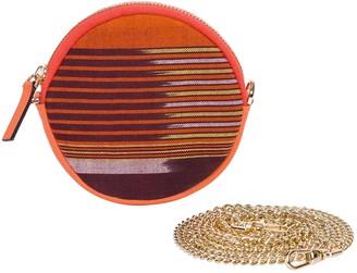 K'ai&Vrosi Cona Orange Leather Round Purse With Handloomed Peshtemal
