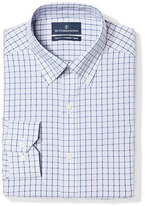Buttoned Down Tailored Fit Button-collar Pattern Non-iron Dress Shirt Grey/Blue Check)