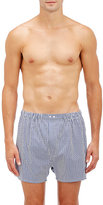 Barneys New York Men's Striped Boxers-BLUE, WHITE