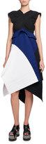 Proenza Schouler Plissé Colorblock A-Line Dress, Multi