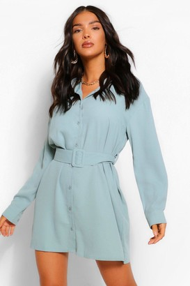 boohoo Belted Button Down Long Sleeve Shirt Dress