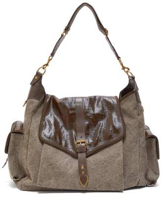 Isabel Marant Mawee Leather And Linen Shoulder Bag - Womens - Khaki
