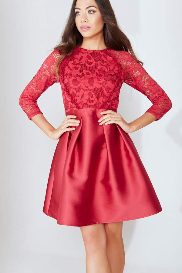Little Mistress Vintage Styler Berry Lace Prom Dress