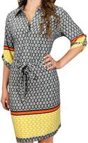 Peach Couture Boho Geometric V Neck 3/4 Sleeves Shift Dress (L, )