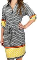 Peach Couture Boho Geometric V Neck 3/4 Sleeves Shift Dress (XL, )