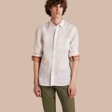 Burberry Check Detail Linen Shirt