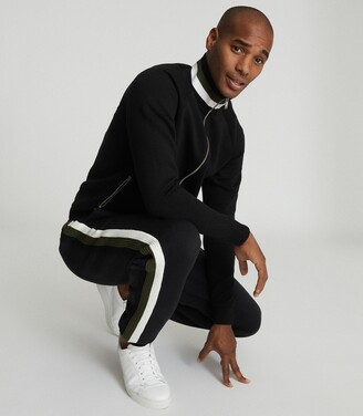 Reiss Jordan - Joggers With Knitted Side Stripe in Black