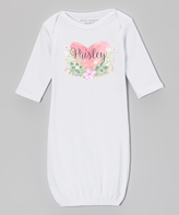 White Watercolor Heart Personalized Gown - Infant