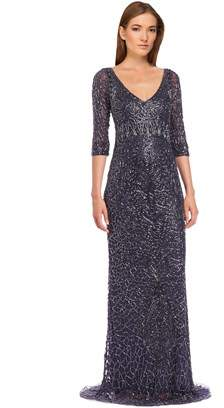 Theia Beaded Three Quarter Sleeve Gown