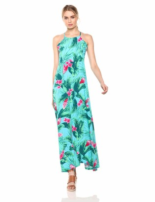 28 Palms Women's Tropical Hawaiian Print Halter Maxi Dress