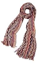 Metallic Vertical Zigzag Scarf: Pink