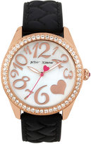Betsey Johnson Women's Black Heart Textured Silicone Strap Watch 40mm BJ00048-172