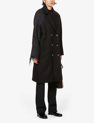 Song For The Mute Frayed-trim contrast-panel wool coat