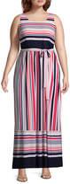 Studio 1 Sleeveless Stripe Maxi Dress-Plus