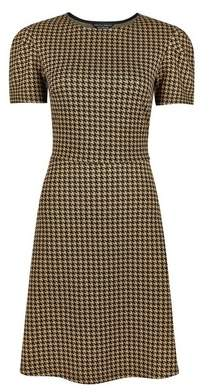 Dorothy Perkins Womens Brown Tuck Sleeve Dogstooth Fit And Flare Dress, Brown