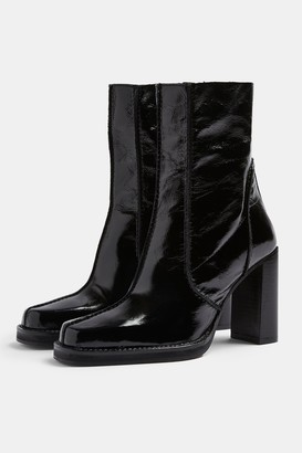 Topshop HALO Black Patent Leather Platform Boots