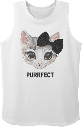 Licensed Character Girls 7-16 Kitty Bow Portrait Purrfect Text Graphic Tank