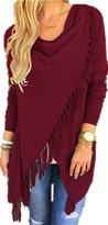 Romantiko Women's Fashion Asymmetric Tasseled Knit Sweater Cardigans AG XL