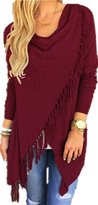 Romantiko Women's Fashion Asymmetric Tasseled Knit Sweater Cardigans WR M