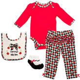Cutie Pie Baby Red & Black Houndstooth Long-Sleeve Bodysuit Set - Infant