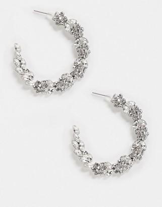 True Decadence hoop earrings in silver crystal
