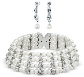 Bling Jewelry Bridal Crystal Bar Choker Statement Necklace Earring White Faux Pearl