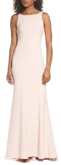 Amsale Joelle Low Back Crepe Gown