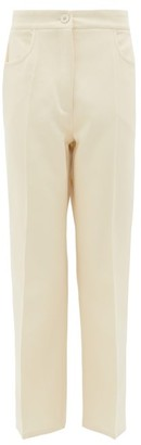 Jil Sander Press-creased Cotton-blend Tricotine Trousers - Ivory