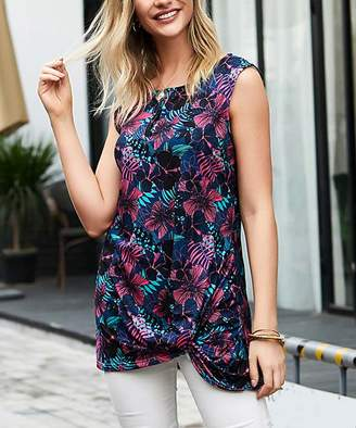 Reborn Collection Women's Tunics Navy - Navy & Pink Tropical Sleeveless Side Knot Tee - Plus